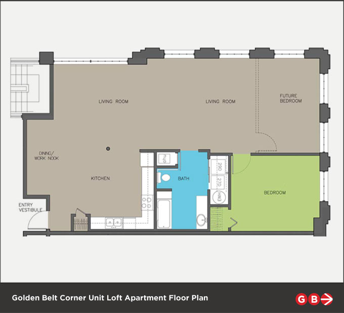 Corner unit lofts golden belt for Quadruplex floor plans