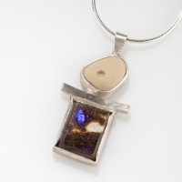 Australian boulder opal, found and carved Lake Michigan pebble set in sterling silver