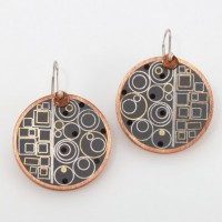mixed metal and hand-pigmented resin earrings